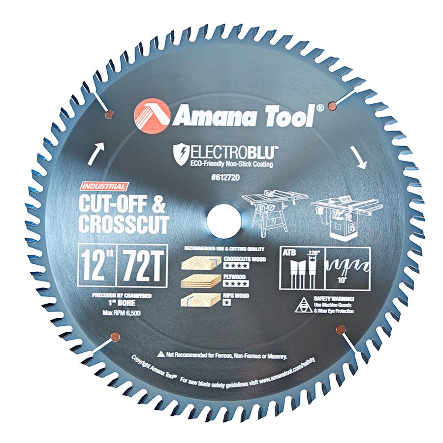 612720C Electro-Blu™ Carbide Tipped Cut-Off and Crosscut 12 Inch Dia x 72T ATB, 10 Deg, 1 Inch Bore, Non-Stick Coated