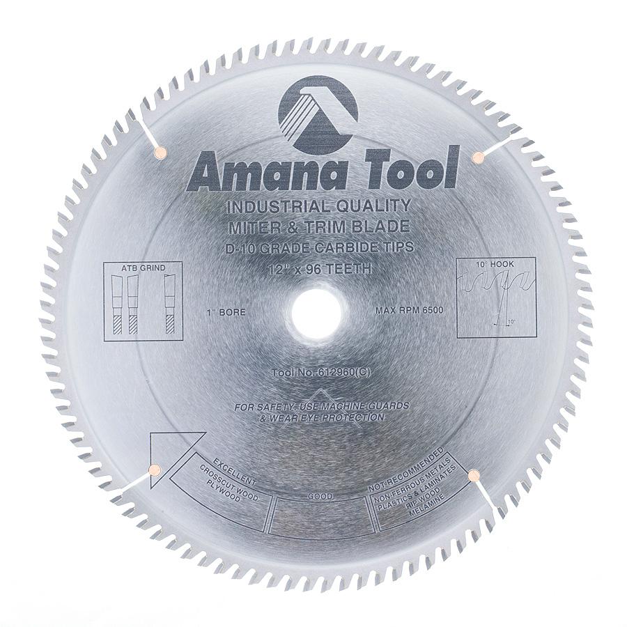 612960 Carbide Tipped Trim 12 Inch Dia x 96T ATB, 10 Deg, 1 Inch Bore