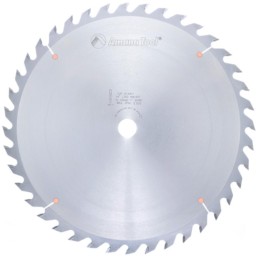 614401 Carbide Tipped Glue Line Ripping 14 inch Dia x 40T TCG, 22 Deg, 1 Inch Bore