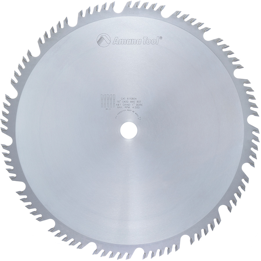 616804 Carbide Tipped Combination Ripping and Crosscut 16 Inch Dia x 80T 4+1, 15 Deg, 1 Inch Bore