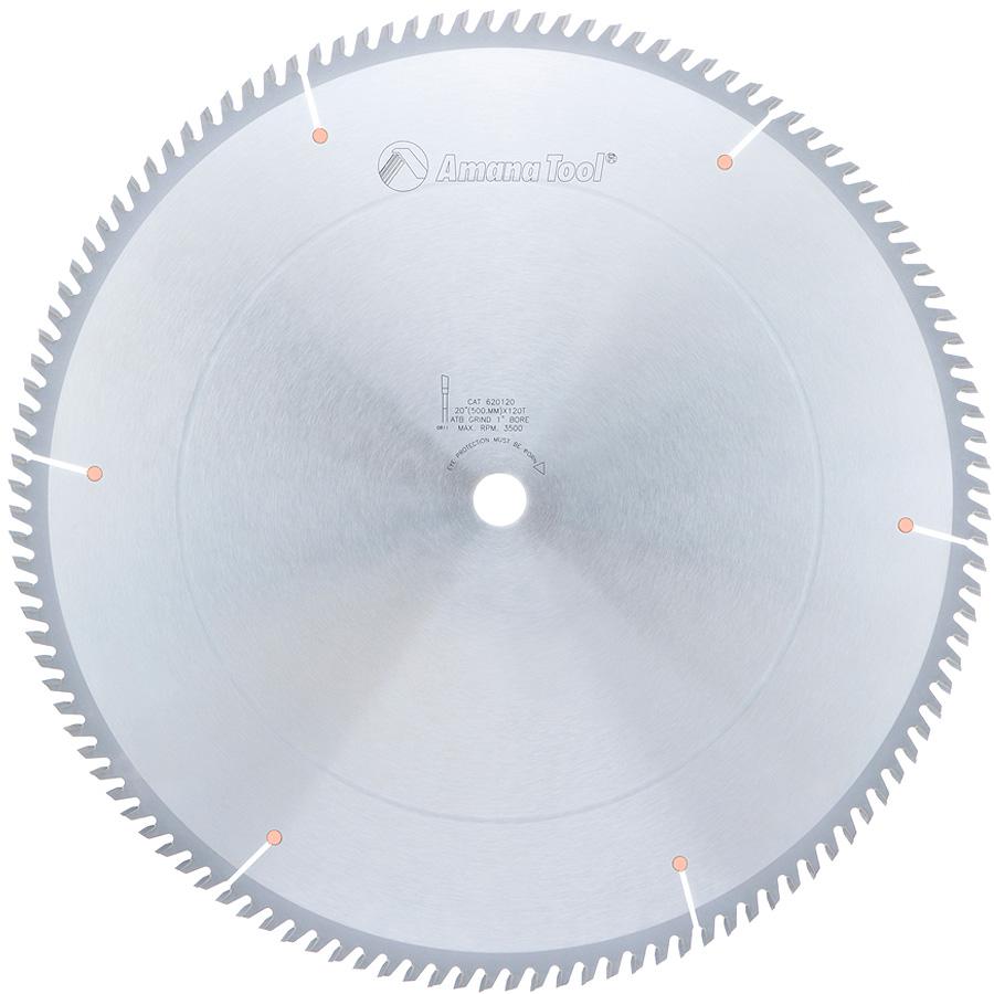 620120 Carbide Tipped Cut-Off and Crosscut 20 Inch Dia x 120T ATB, 10 Deg, 1 Inch Bore
