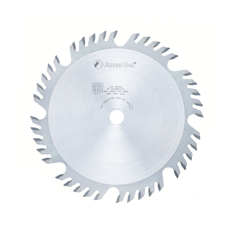 684004 Carbide Tipped Combination Ripping and Crosscut 8 Inch Dia x 40T 4+1, 15 Deg, 5/8 Bore