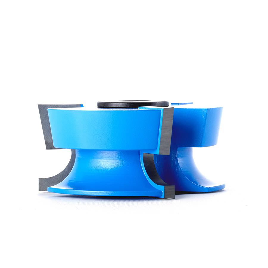 900 Carbide Tipped 3-Wing Corned Round & Rabbet Counter Clockwise, Rabbet Up, Door Lip 3/8 Radius x 10 Deg x 2-5/8 Dia x 1-3/16 x 1/2 & 3/4 Bore