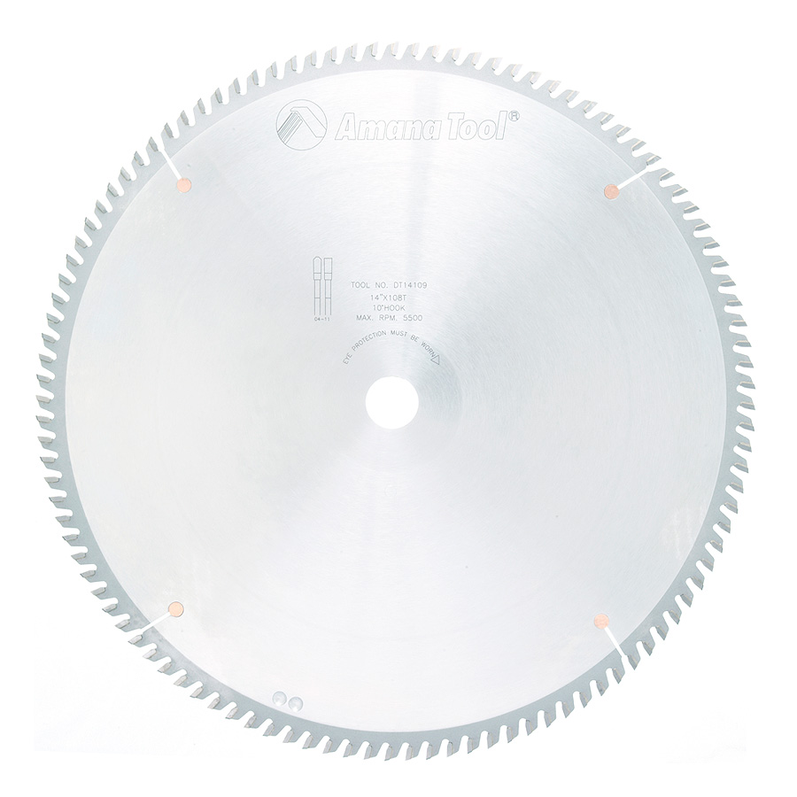 DT14109 Carbide Tipped Sliding Table Saw 14 Inch Dia x 108T TCG, 10 Deg, 1 Inch Bore