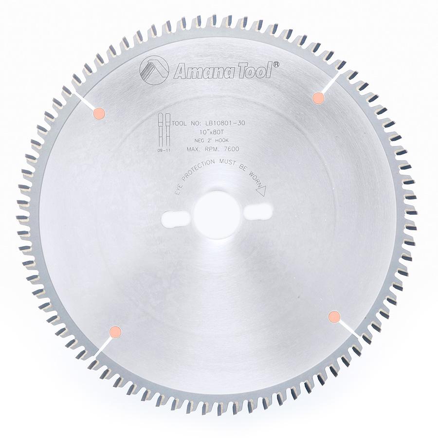 LB10801-30 Carbide Tipped Non-Melt Plastic 10 Inch Dia x 80T M-TCG, -2 Deg, 30mm Bore