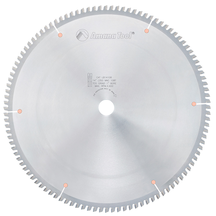 LB14108 Carbide Tipped Non-Melt Plastic 14 Inch Dia x 108T M-TCG, -2 Deg, 1 Inch Bore