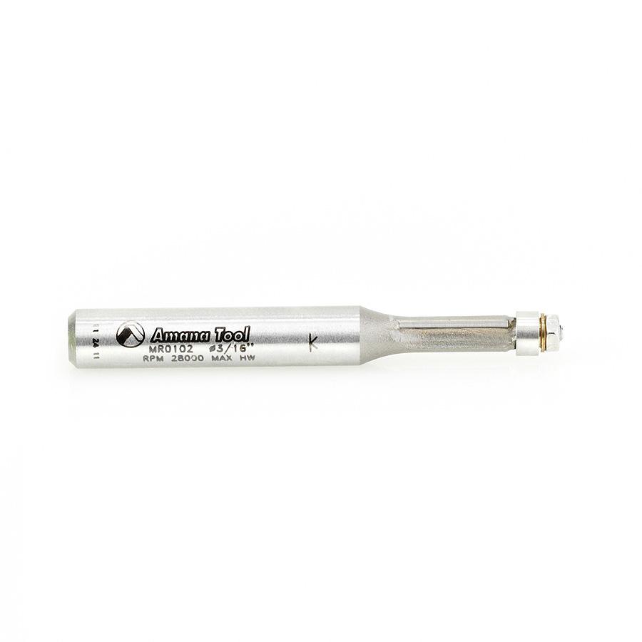 MR0102 Carbide Tipped Miniature Flush Trim 3/16 Dia x 7/16 x 1/4 Inch Shank with Mini 3/16 Dia Lower Ball Bearing