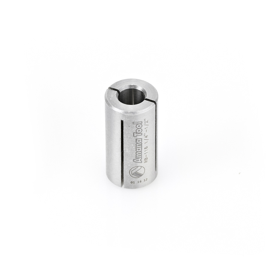 RB-116 High Precision Steel Router Collet Reducer 1/2 Overall Dia x 1/4 Inner Dia x 1 Inch Long