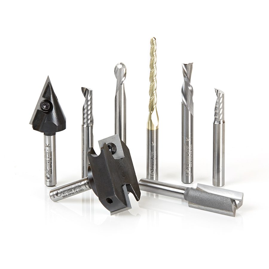 cnc router bits. ams-131 8-pc signmaking starter cnc router bit collection #ii, 1/4 inch shank cnc bits