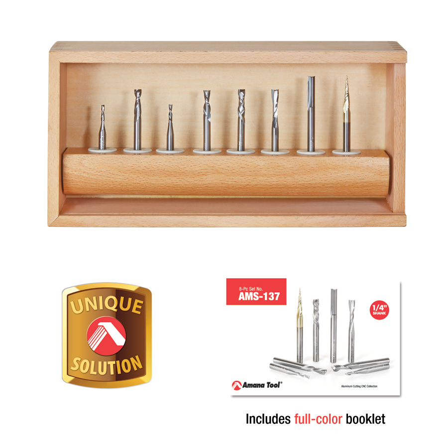AMS-137 8-Pc Spiral Compression, Tapered & Straight CNC Router Bit Collection, 1/4 Inch Shank