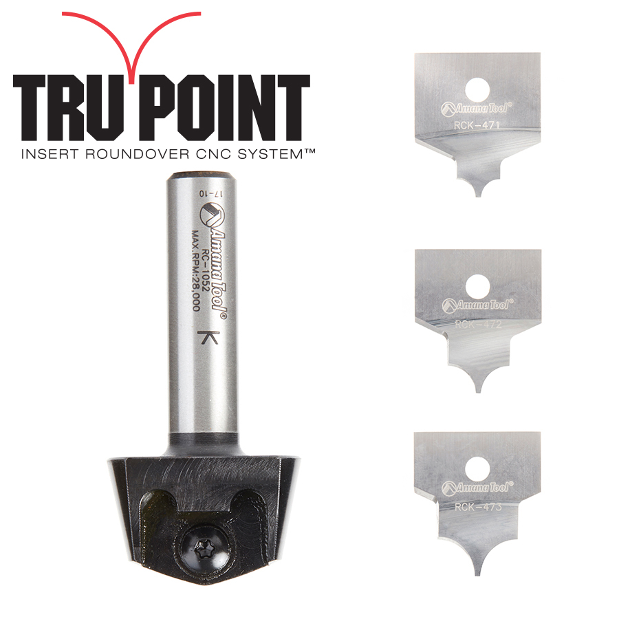 AMS-216 4-Piece Tru Point Insert Roundover CNC System 1/2 Inch Shank Router Bit Set