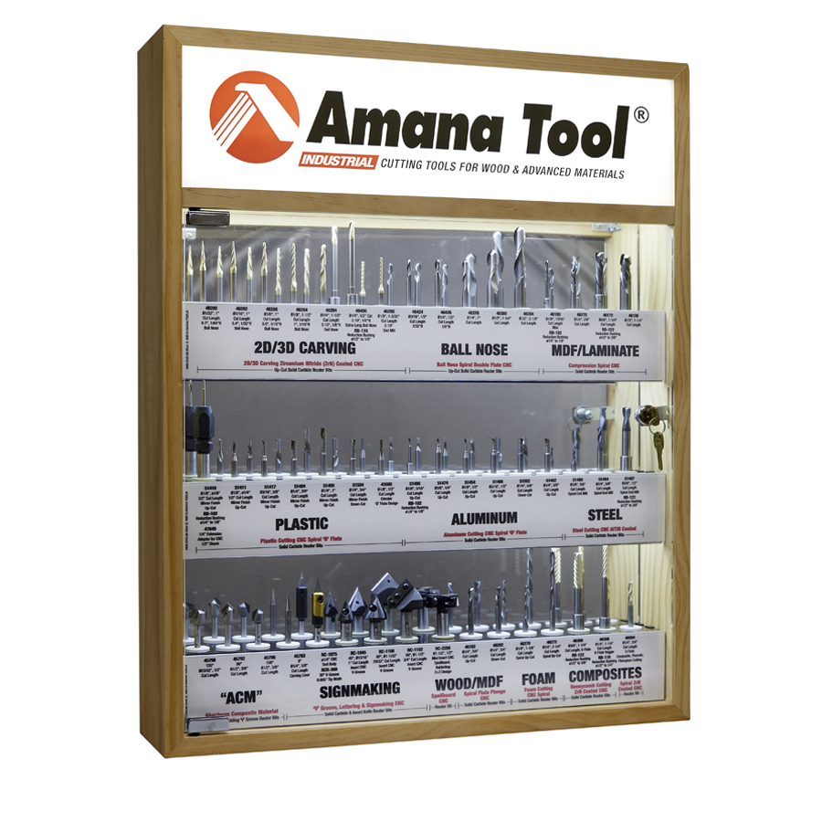AMS-CNC-58 - Master CNC Router Bit Collection, 58-Pcs with LED Illuminated, Mirrored Interior and Solid Wood Display
