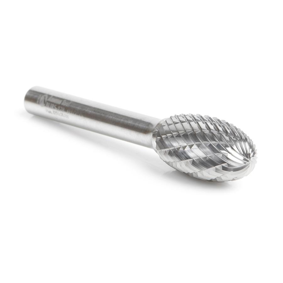 BURS-178 Solid Carbide Oval Shape 1/2 Dia x 7/8 x 1/4 Shank Double Cut SE Burr Bit for Die-Grinders