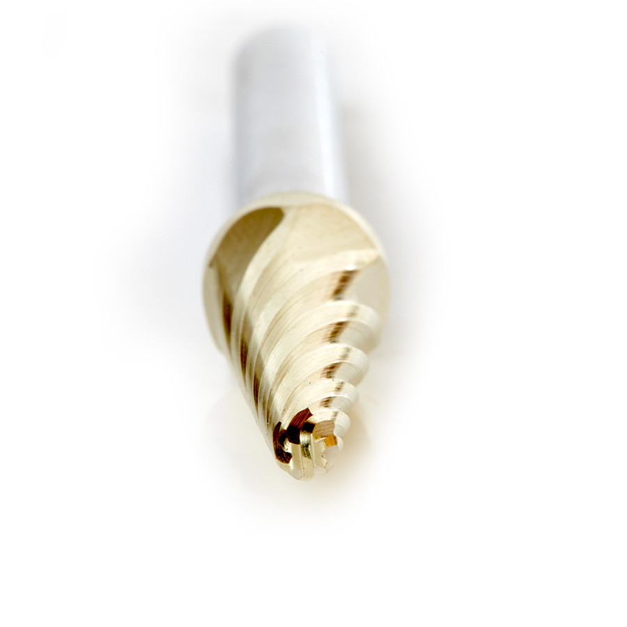 BURS-214NF Solid Carbide Radius Cone Shape 3/8 Dia x 1-1/16 x 1/4 Shank Non-Ferrous ZrN Coated SL Burr Bit for Die-Grinders