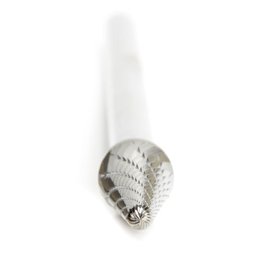 BURS-216 Solid Carbide Radius Cone Shape 3/8 Dia x 1-1/16 x 1/4 Shank Double Cut SL Burr Bit for Die-Grinders