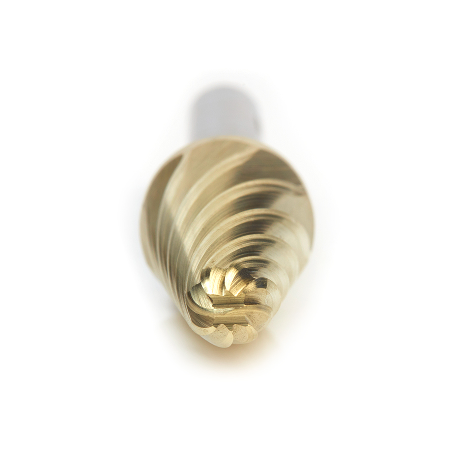 BURS-218NF Solid Carbide Radius Cone Shape 1/2 Dia x 1-1/8 x 1/4 Shank Non-Ferrous ZrN Coated SL Burr Bit for Die-Grinders