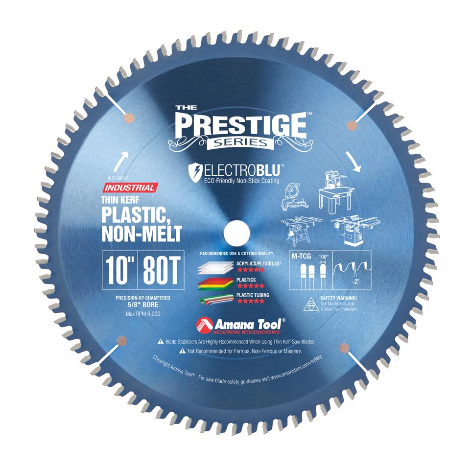 LB10801C Electro-Blu™ Carbide Tipped Non-Melt Plastic 10 Inch Dia x 80T M-TCG, -2 Deg, 5/8 Bore, Non-Stick Coated