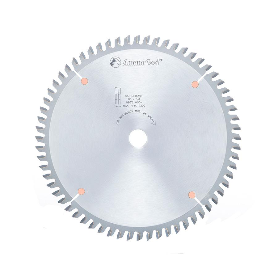 LB86401 Carbide Tipped Non-Melt Plastic 8 Inch Dia x 64T M-TCG, -2 Deg, 5/8 Bore