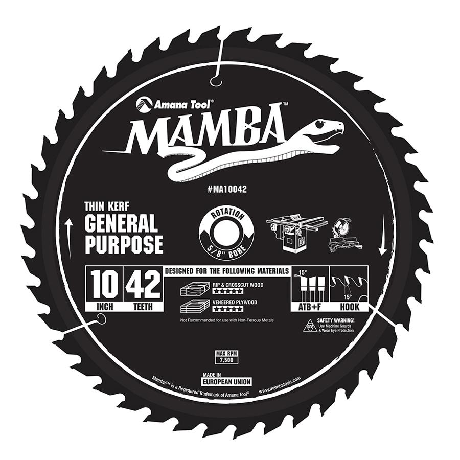 MA10042 Carbide Tipped Thin Kerf General Purpose Mamba Contractor Series 10 Inch Dia x 42T, ATB+F, 15 Deg, 5/8 Bore Circular Saw Blade