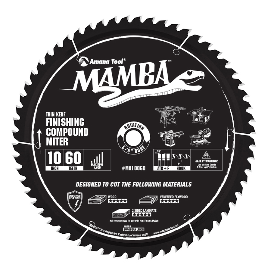 MA10060 Carbide Tipped Thin Kerf Finishing Compound Miter Mamba Contractor Series 10 Inch Dia x 60T, ATB+F, 8 Deg, 5/8 Bore Circular Saw Blade