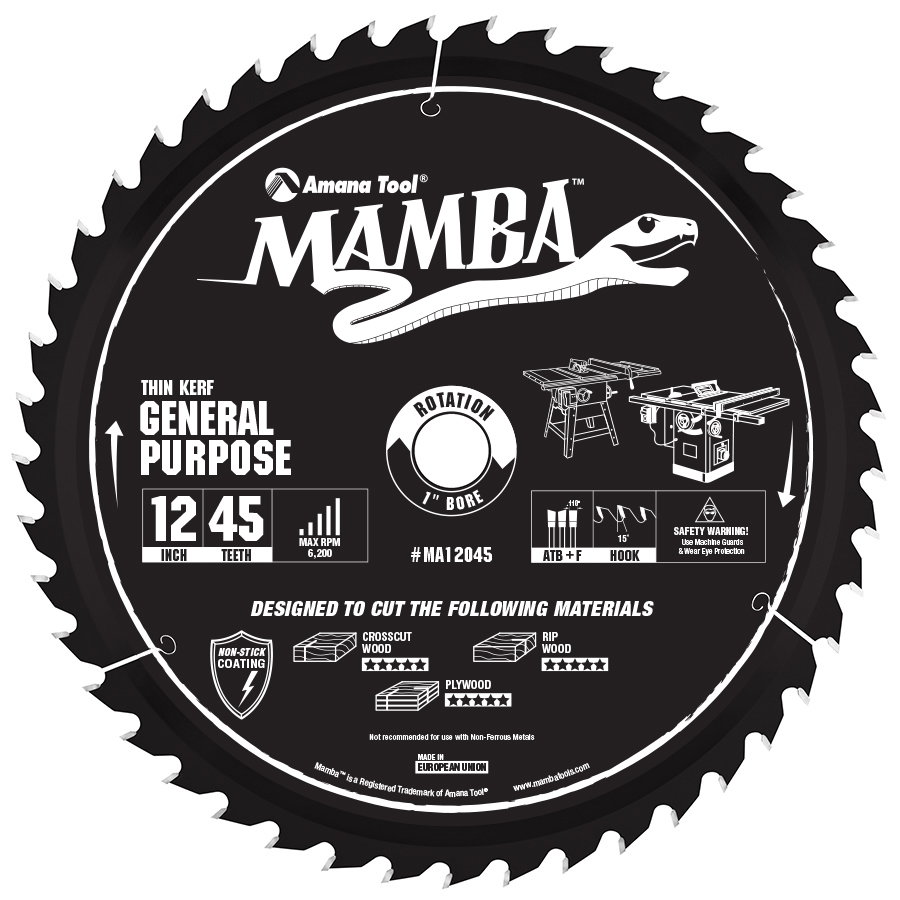 MA12045 Carbide Tipped Thin Kerf General Purpose Miter Mamba Contractor Series 12 Inch Dia x 45T, ATB+F, 15 Deg, 1 Bore Circular Saw Blade