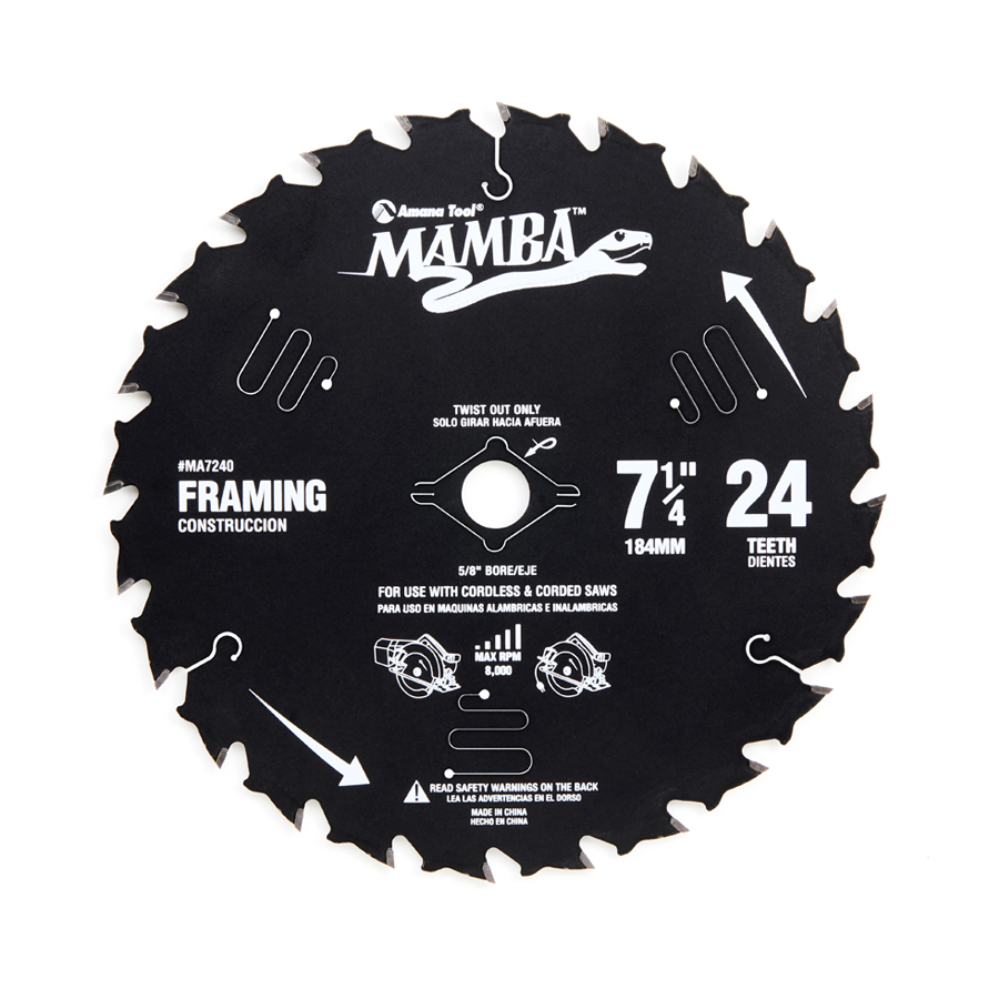 MA7240 Top Quality Carbide Tipped Thin Kerf Framing and Decking Mamba Contractor Series 7-1/4 Inch Dia x 24T, ATB, 18 Deg, 5/8 Bore with Diamond Knockout Circular Saw Blade
