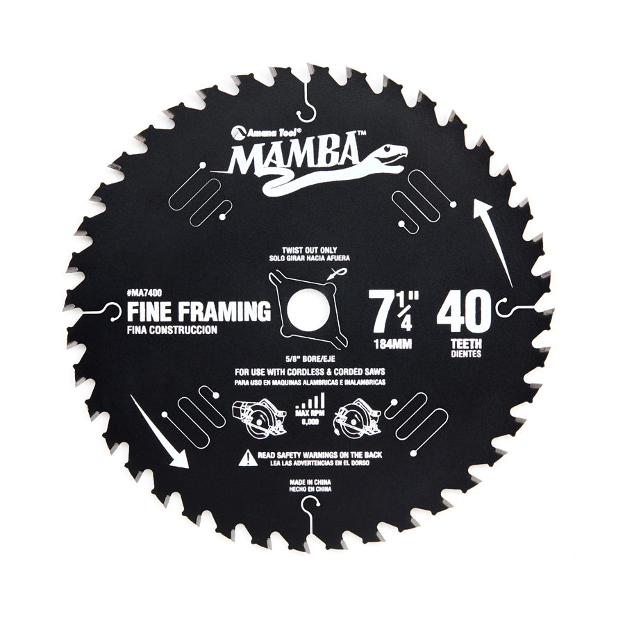 MA7400 Top Quality Carbide Tipped Thin Kerf Fine Framing and Decking Mamba Contractor Series 7-1/4 Inch Dia x 40T, ATB, 15 Deg, 5/8 Bore with Diamond Knockout Circular Saw Blade