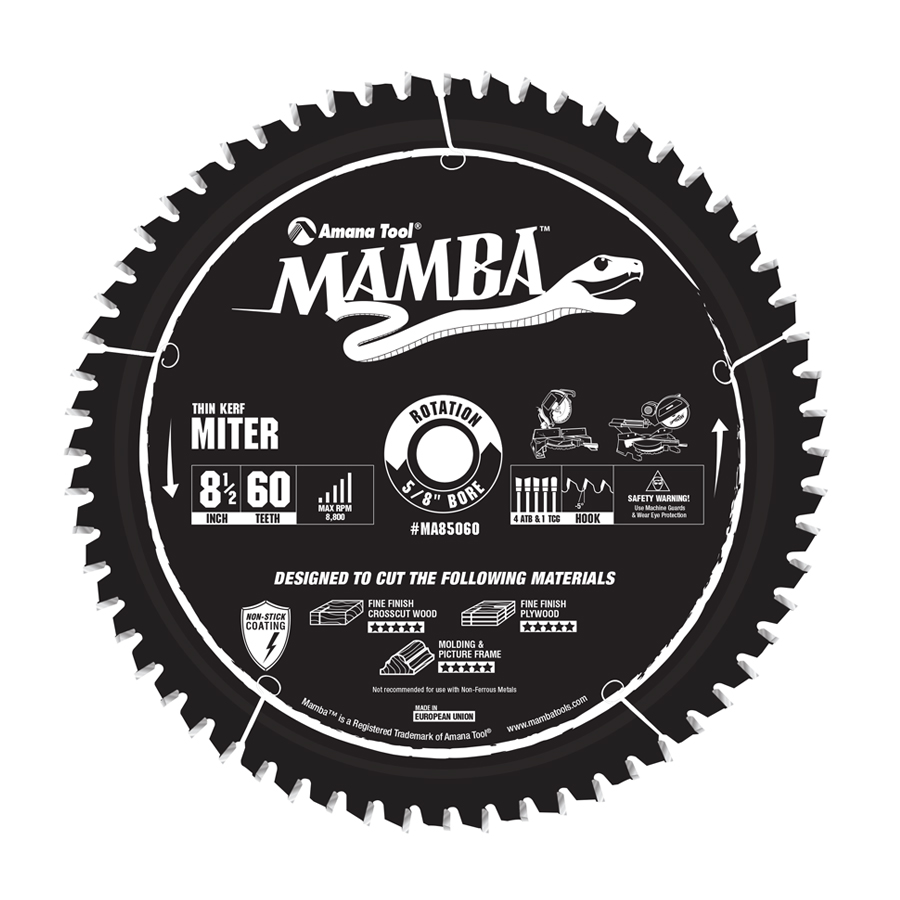 MA85060 Carbide Tipped Thin Kerf Sliding Compound Miter Mamba Contractor Series 8-1/2 Inch Dia x 60T, 4ATB + 1TCG, -5 Deg, 5/8 Bore