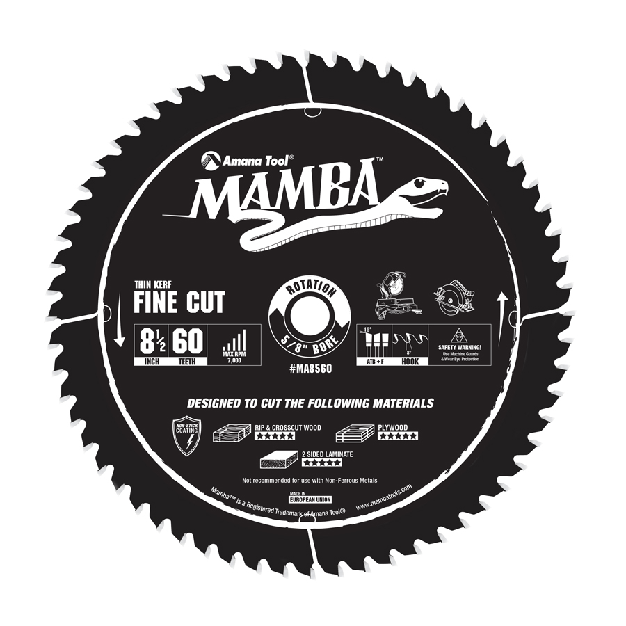 MA8560 Carbide Tipped Thin Kerf Fine Cut Mamba Contractor Series 8-1/2 Inch Dia x 60T, ATB+F, 8 Deg, 5/8 Bore Circular Saw Blade