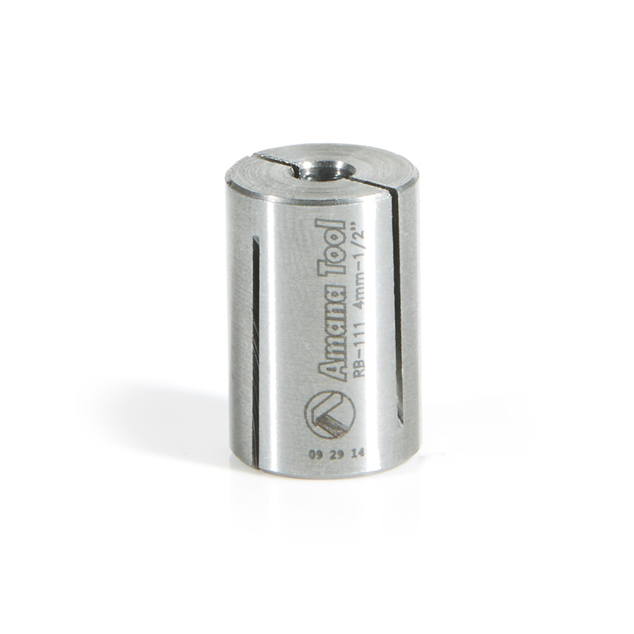 RB-111 High Precision Steel Router Collet Reducer 1/2 Overall Dia x 4mm Inner Dia x 3/4 Inch Long