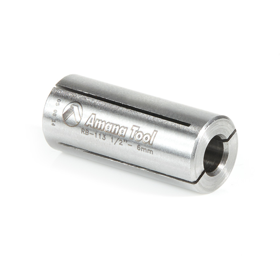 RB-113 High Precision Steel Router Collet Reducer 1/2 Overall Dia x 6mm Inner Dia x 1-1/4 Inch Long