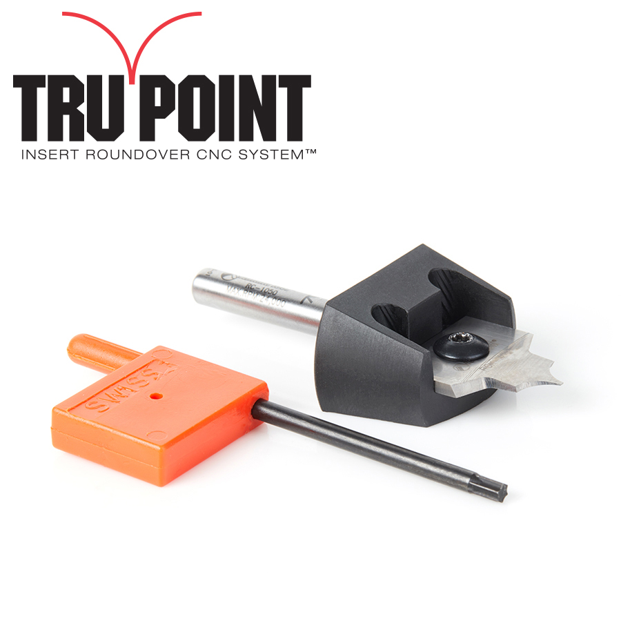 RC-1054 Tru Point Roundover Insert CNC System 3/16 Radius x 7/8 Dia x 3/8 x 1/4 Inch Shank Router Bit