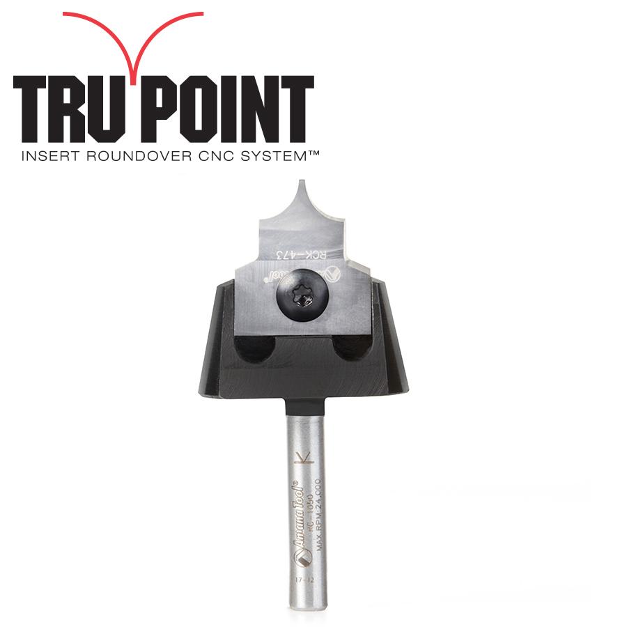 RC-1055 Tru Point Roundover Insert CNC System 1/4 Radius x 7/8 Dia x 1/2 x 1/4 Inch Shank Router Bit