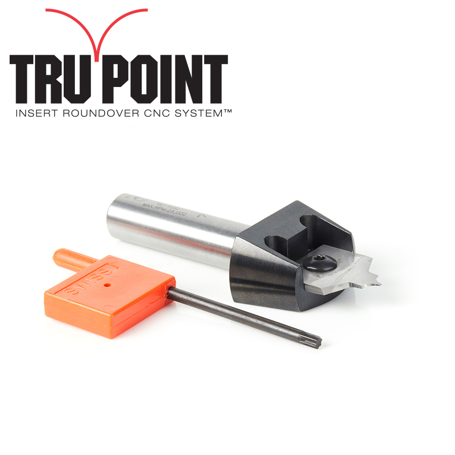RC-1056 Tru Point Roundover Insert CNC System 1/8 Radius x 7/8 Dia x 1/4 x 1/2 Inch Shank Router Bit