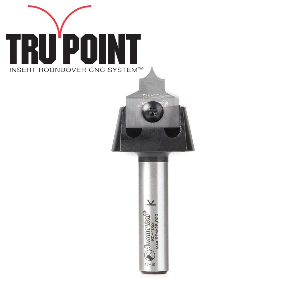 RC-1057 Tru Point Roundover Insert CNC System 3/16 Radius x 7/8 Dia x 3/8 x 1/2 Inch Shank Router Bit