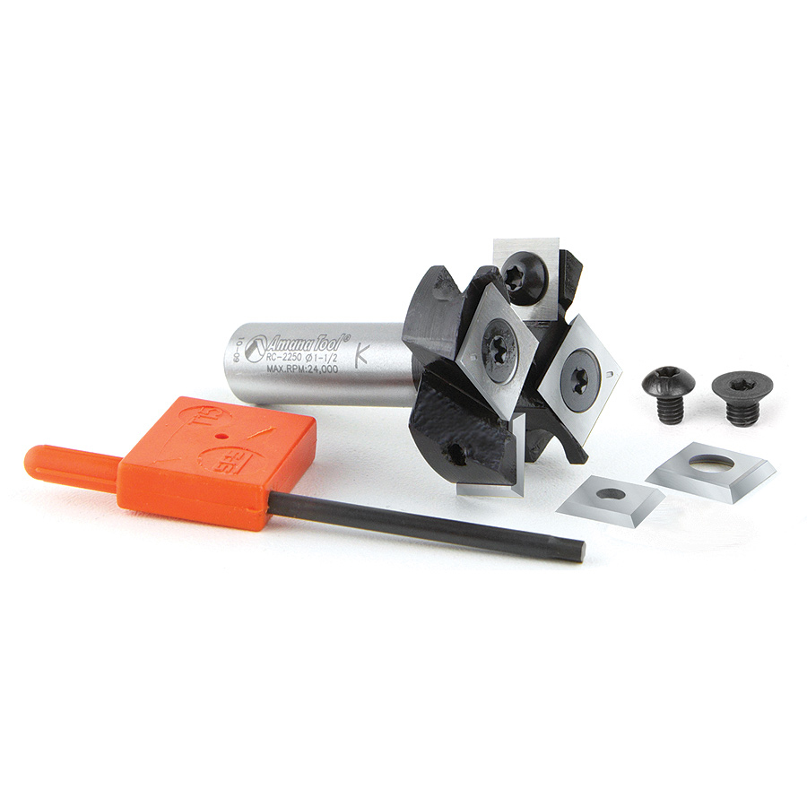 RC-2250 Insert Carbide Mini Spoilboard Surfacing, Rabbeting, Flycutter, Slab Leveler & Surface Planer 2+2 Flute Design 1-1/2 Dia x 1/2 x 1/2 Inch Shank Router Bit
