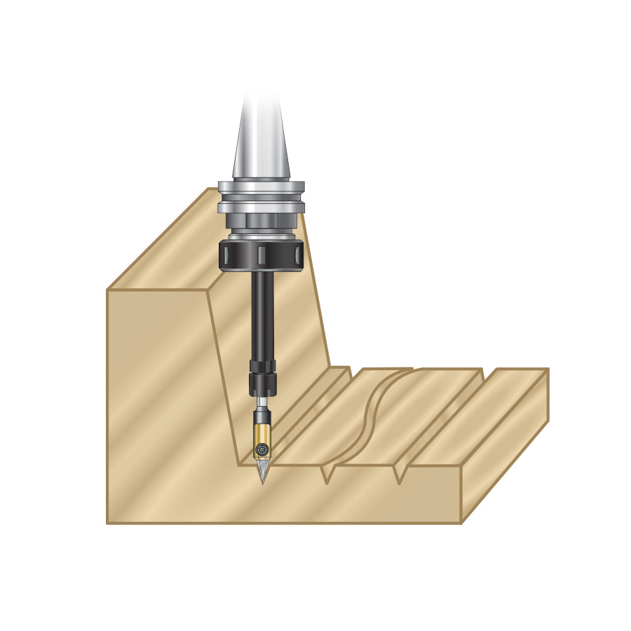 TE-100 CNC High Precision Tool Holder Extension 1/4 Shank, 5-7/8 Inch Length, 1-7/64 Inch Dia., 1/4 Inch Inner Dia.