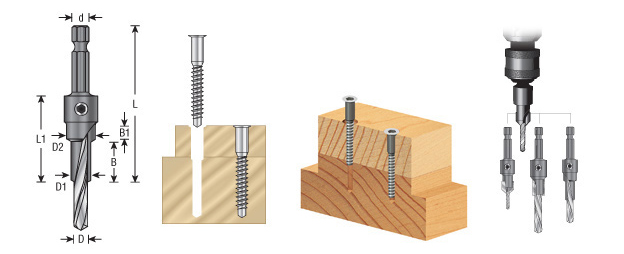 Amana Tool 55292 Rta Furniture Drill//Countersink with Quick Release 1//4 Hex Shank For 7M