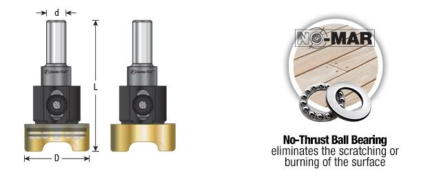 55246 Adjustable Depth Stop /& No-Thrust Ball Bearing Adapter 1-1//4 Dia x 3 Amana Tool