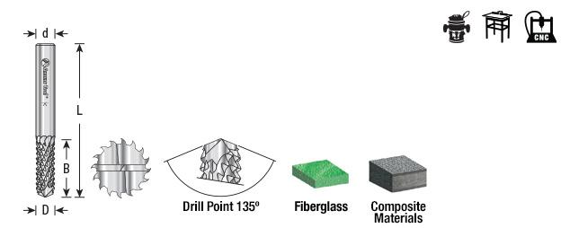 Fiberglass /& Composi 48001 Solid Carbide Medium Burr with 135/¬/∫ Drill Pt Amana Tool