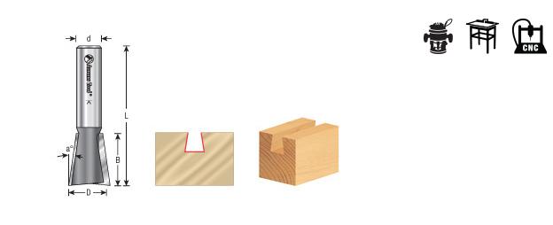 45800 Carbide Tipped Dovetail 9 Deg x 3//8 Dia x 3//8 x 1//4 S Amana Tool
