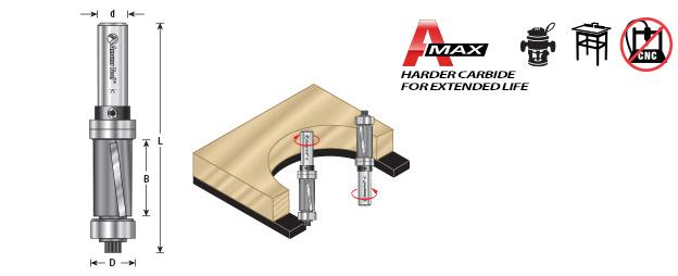 """Amana 47095 Carbide Tipped Down-Shear Multi Trimmer 1//2 D x 1 CH x 1//4/"""" Shank w//"""