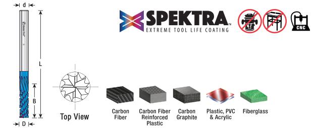 Amana Tool 46264-K SC Spektra Extreme Tool Life Coated Carbon Graphite Carbon Fiber Panel Cutting Down-Cut 1//4 D x 3//4 CH x 1//4 SHK x 3 Inch Long Down Cut Router Bit