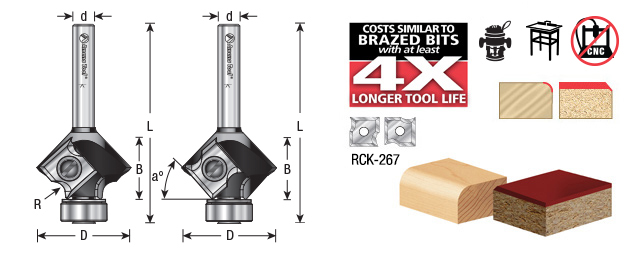Amana Tool RC-49495 In-Tech Insert Corner Round 2mm R x 1-5//64 Inch D x 43//64 CH x 1//4 SHK Router Bit