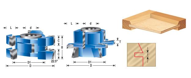 Amana Tool SC555 2Piece Carbide Tipped 3-Wing Instile /& Rail Adjustable Cabinet Door 2